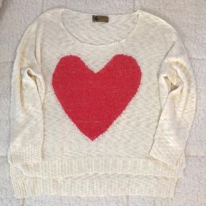 Lightweight LF sweater with red heart